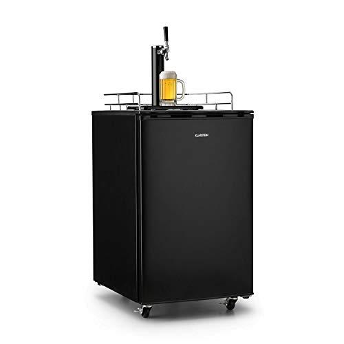 Klarstein Big Spender - Bierfass-Kühlschrank, Getränkefasskühlschrank, Komplettset, CO2 Fässer bis 50 L, 4 Bodenrollen, Temperatur regulierbar, inkl. 1 x Zapfsäule und Gasflasche, schwarz