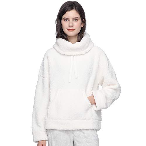 Mnemo Home Damen Sherpa Hoodie Weicher Kapuzenpullover Fleece Nachthemd Stricken Jacke mit Tasche zu Hause für Herbst und Winter