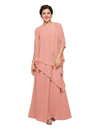 AW BRIDAL Vestido largo de noche de gasa para madre de la novia, para fiestas y bienvenida con chaqueta Ballet rosa. 46