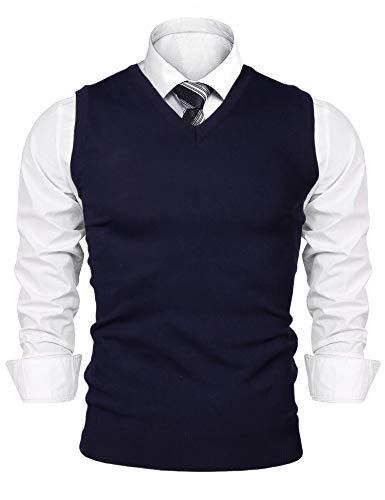 iClosam Herren Pullunder V-Ausschnitt Comfort Fit Baumwoll Strickweste,Blau,M
