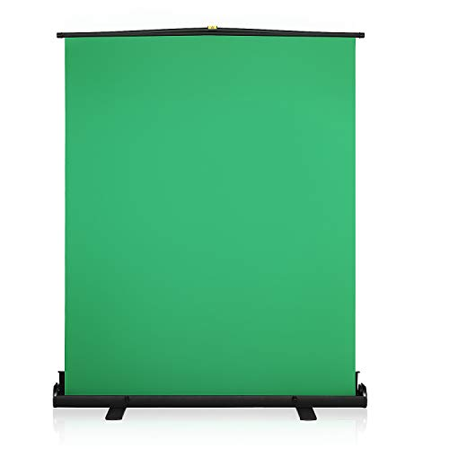 """ShowMaven 80.7"""" x 58.3"""" Green Screen Collapsible Chromakey Panel for Background Removal with Auto-Locking Frame, Chroma Key Screen with Wrinkle-Resistant Fabric, Aluminum Hard Case"""