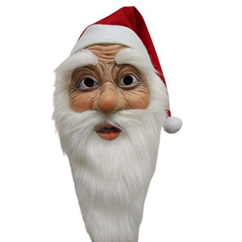 RecoverLOVE Mscara de Sombrero de Pap Noel, Disfraz de mascarilla Facial Completa de Pap Noel, mscara de ltex Realista para Fiesta de Navidad, Disfraz de Fiesta de Cosplay
