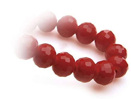 Perle di Vetro, filo perle, perle 8mm 15pezzi Dark Red Coral, di alta qualità, Legno cristallo perle fai da te di orecchini, bracciali, catena, gioielli, da Creare, Decorare, decorare