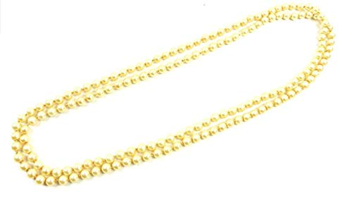 Evil Wear Damen Perlen-Ketten gold Extra Lang Perlenkette 150cm gelb-gold Kunstperlen