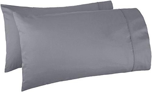 Amazon Basics - Juego de 2 fundas de almohada de algodón de 400 hilos, color gris oscuro, tamaño King