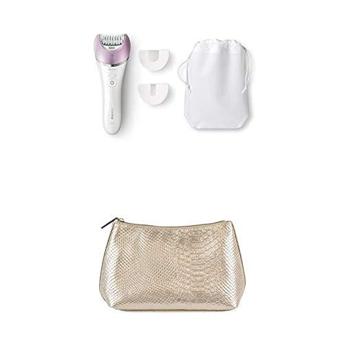 Philips Satinelle Advanced Hair Removal Epilator, for Legs, Underarms, Bikini & Face (Bre615) + Cosmetic Pouch