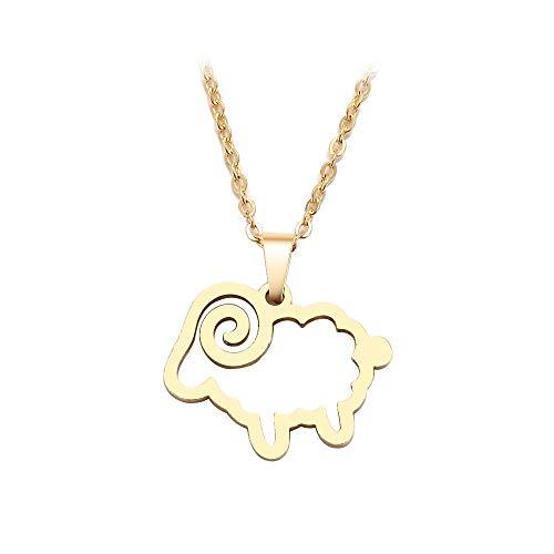 Collar de acero inoxidable para hombres y mujeres Colgante de color dorado y plateado con cruz de oveja Joyas de compromiso-Couleur o