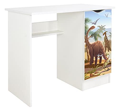 Leomark Scrivania per bambini - ROMA - bianco scrittoio set di mobili per computer, stile moderno, Tavolo per imparare e giocare, Altezza: 77 cm (dino)