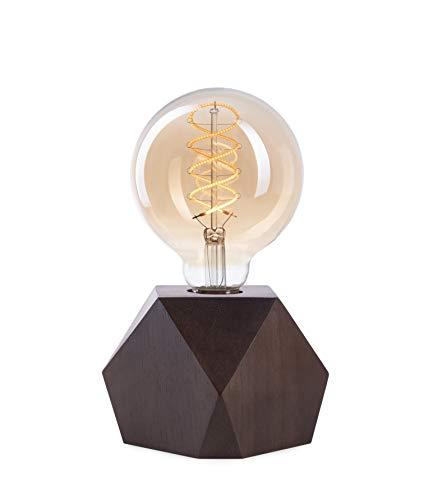 CROWN LED Tischlampe Vintage Batteriebetrieben - Design Tischleuchte aus Holz Farbe Eiche dunkel E27 Fassung inkl. Retro Edison LED Glühbirne EL19