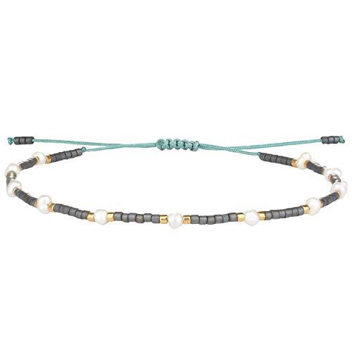 KELITCH Neue Freundschaft Armbänder Boho Shell Miyuki Perlen Strang Armbänder Für Frauen Perle Charme Armbänder (Grau)