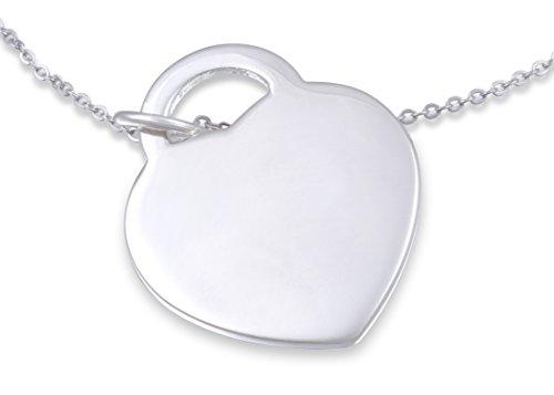Juwelier Schönschmied- Elegante Silberkette Halskette mit Herzanhänger mit Gravur - plattiertes Silber mit Kette Plattiertes Silber KA2