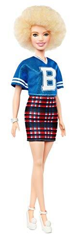 Mattel Barbie - Fashionistas pop, in blauwe glitterbovendeel en rok, met ruitpatroon