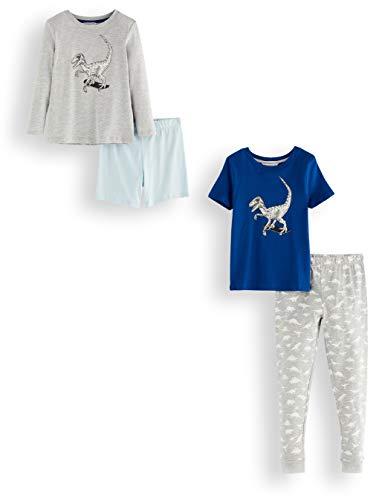 Amazon-Marke: RED WAGON Jungen Pyjama-Set aus Baumwolle, 2er-Pack, Mehrfarbig (Dino), 116, Label:6 Years