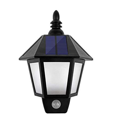 Onerbuy Farol de pared LED para exteriores con energía solar, luces de seguridad con llama parpadeante para jardín, valla de jardín, lámpara hexagonal (iluminación de llama parpadeante)
