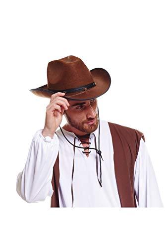 Cow-boy Adulte Avec Ruban Couleur - Marron