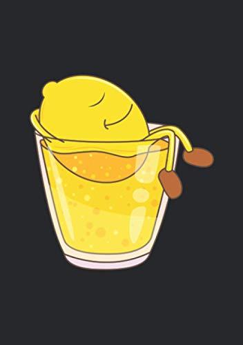 Notizbuch A5 kariert mit Softcover Design: Süßes Zitrone in Zitronen Limonade Softdrink Glas: 120 karierte DIN A5 Seiten