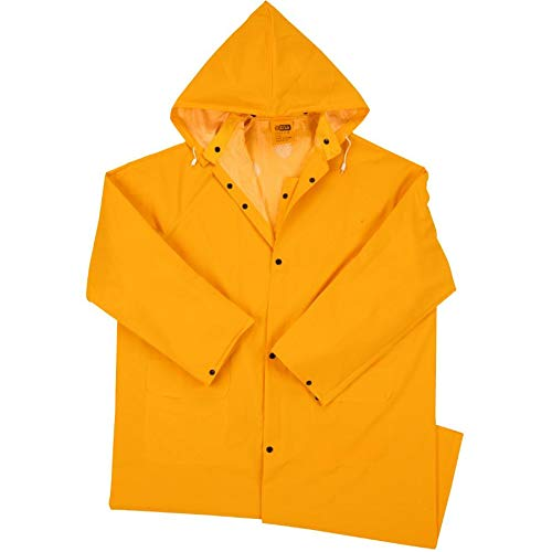 West Chester 44148CA Heavyweight PVC Rain Jacket – XX-Large, Yellow, Rain Wear Apparel w/Exterior Pockets, Vented Cape Back, Detachable Hood/Collar