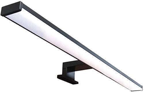 Lámpara de espejo LED para baño VEGA – 40 cm, 8 W, 640 lm, 220 V, 4000 K, negro satinado aluminio, IP44 Clase II, no regulable, instalación de espejo o marco, aplique, luz cálida