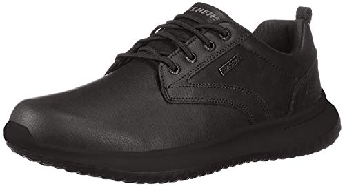 Skechers Men's Delson-Antigo Trainers, Black (Black Leather Bbk), 9.5 UK (44 EU)