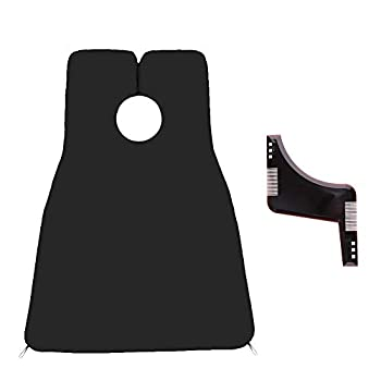 Linkland Beard Apron + Beard Template for Men Trimming,Perfect Beard Shaping Set Waterproof and Non-Stick Hair Beard Clippings Catcher Bib,Great Gift for The People You Care About The Most  black