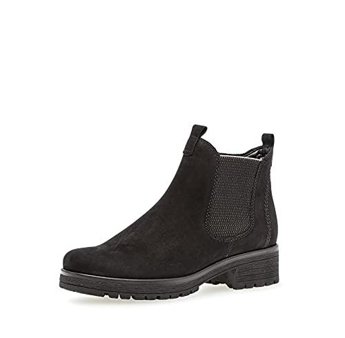 Gabor Damen Chelsea Boots, Frauen Stiefeletten,Wechselfußbett,Moderate Mehrweite (G),uebergangsschuhe,schwarz (Micro),42 EU / 8 UK