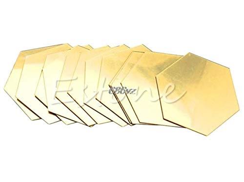 Nuevas pegatinas de pared calificadas 12 piezas 3D espejo hexagonal vinilo extraíble etiqueta de la pared calcomanía decoración del hogar arte Diy N24 Drop Ship, oro, Xs