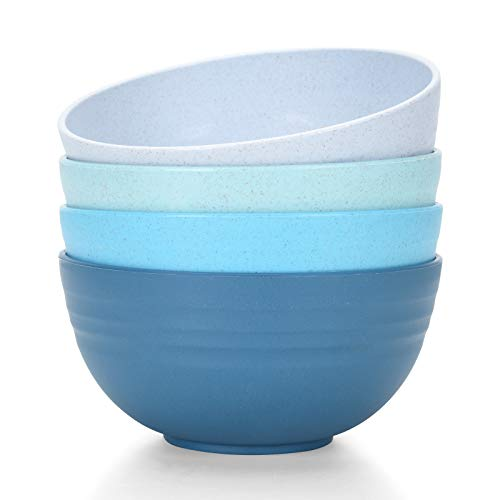 [Set of 4] Unbreakable Cereal Bowls 24 OZ Microwave and Dishwasher Safe BPA Free E-Co Friendly Bowl...