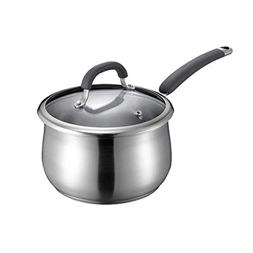 the teapot company Milk Pot With Lid Stainless Steel Uncoated Soup Pot Small Milk Pot Household Kitchen Stainless Steel Pot/Silver Colour (Color : Silver, Size : 14cm)