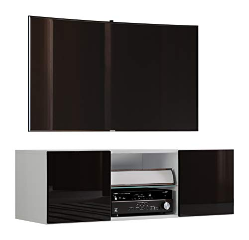 VCM TV Schrank Lowboard Tisch Board Fernseh Sideboard Wandschrank Wohnwand Holz Weiß/Schwarz 40x95x36 cm Jusa Hochglanz
