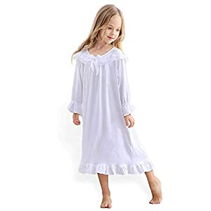 Blacking 女の子のパジャマ長袖パジャマスリープドレス女の子3-12歳用プリンセスナイトウェアレース綿白いナイトガウン春、夏、秋、冬のパジャマ (120cm, 白い長袖)