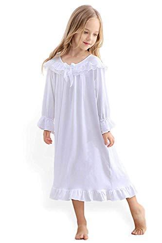Blacking 女の子のパジャマ長袖パジャマスリープドレス女の子3-12歳用プリンセスナイトウェアレース綿白いナイトガウン春、夏、秋、冬のパジャマ (130cm, 白い長袖)