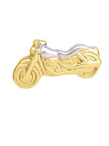 MyGold Mini Motorrad Ohrstecker Ohrring Einzel Single Stecker Gelbgold Weißgold 333 Gold (8 Karat) Bicolor 8mm x 4mm Männerohrring Herrenstecker Goldstecker Biker V0011971
