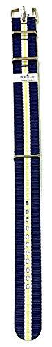 Correa NATO tela cinta grogrén Amarillo Azul Blanco Ansa 18mm para Reloj Omega Rolex Tag Heuer Tudor. Morellato