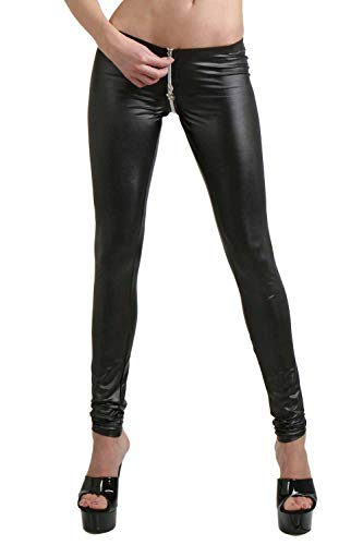 Miss Noir Wetlook Sexy Leggings mit 4-Wege-Reißverschluss Damen Clubwear (Schwarz, XXL/3XL)