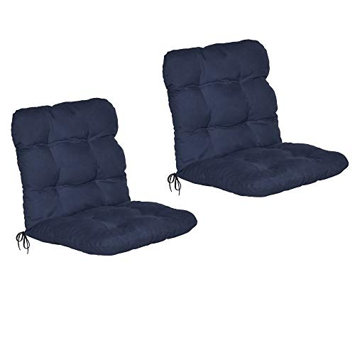 Beautissu 2er Set Niedriglehner Auflagen Set Flair NL Stuhlauflage 100x50x8cm Sitzkissen Niederlehner Gartenstühle Sitzauflagen Stuhlkissen Dunkelblau
