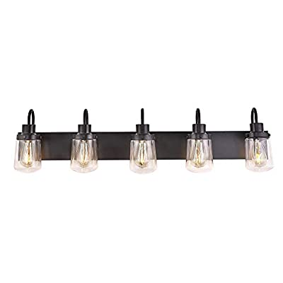 YAOHONG Modern Bathroom Vanity Light 5-Lights Lamp in Black,Farmhouse Wall Light Fixture with Clear Glass Shades,Indoor Wall Lamp