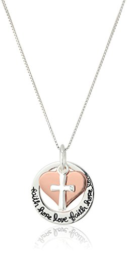 Amazon Collection Two-Tone Sterling Silver and Rose Gold-Flashed 'Faith Hope Love' Cross Charm Pendant Necklace, 18'