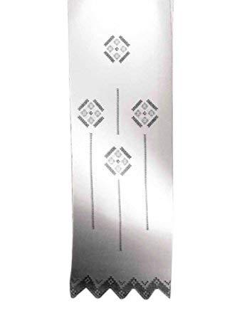 Zenoni & Colombi Coppia di Tende Ricamate a Mano Etruria Made in Italy Misto Lino Varie Dimensioni (58x240)