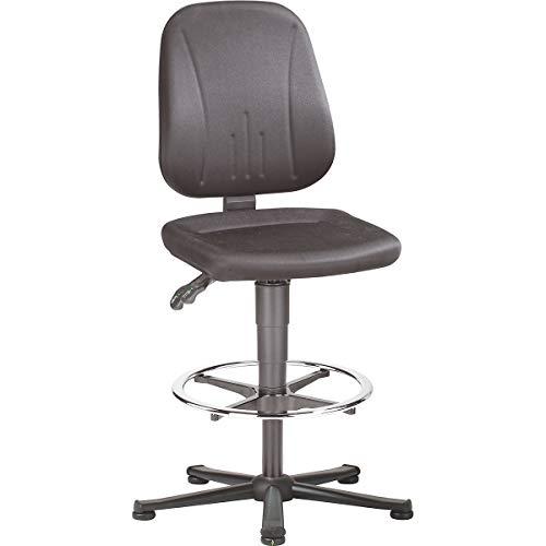 bimos ESD-Arbeitsdrehstuhl - Stoffbezug schwarz, Stahlrohr-Fünffußgestell - mit Bodengleitern und Fußring - Arbeitsdrehstuhl Arbeitsstuhl Drehstuhl ESD ESD-Arbeitsstuhl Stuhl