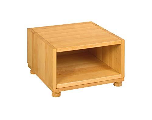 BioKinder 25270 Nachttisch Nachtkästchen Beistelltisch Holz Erle 40x40x26cm, Modell:geschlossen