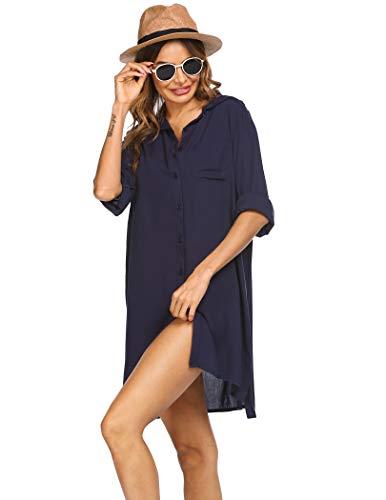 Ekouaer Vestido de playa para mujer, cuello en V, poncho de playa,...