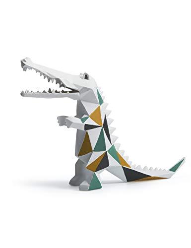 Amoy-Art Skulptur Figur Krokodil Statue Art Geometrisch Tier Dekor für Haus Geschenk Andenken Giftbox Resin 17cmH