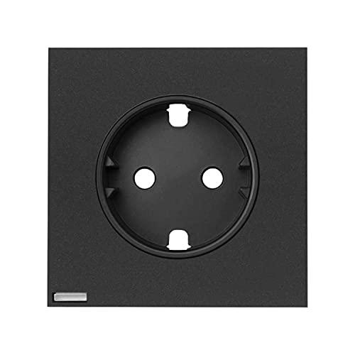 Tapa iO para la base de enchufe Schuko, serie 100, 2,5 x 7,1 x 7,1 centímetros, color negro (referencia: 10002041-238)