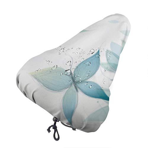 Coprisedile per Bici Fiori Azzurri Come Farfalle Surreale Sketch Protettivo Cuscino da Sella per Bici Resistente al Sole e alla Pioggia