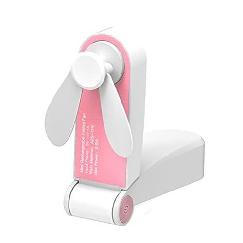 Baoblaze Ventilador de Mano, Mini Ventilador Personal con Cable USB Recargable, 2 velocidades, Ventilador portátil de Mano para niñas Mujeres niños Viajar al - Rosa
