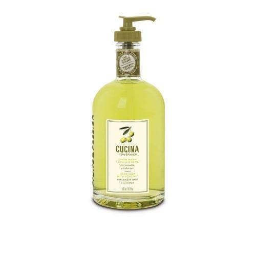 Fruits & Passion [Cucina] - Coriander and Olive Tree Liquid Hand Soap, Kitchen Hand Soap, Vegan-Friendly, Natural Moisturizing Hand Wash in Glass Hand Soap Dispenser (6.8 fl oz)