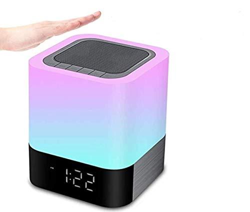 YUNYODA Altavoz Bluetooth Luz Nocturna, lámpara de cabecera portátil Sensible al Tacto de 7 Colores Regulable, Sensor Táctil Lámpara de Cabecera con Reloj Despertador, Reproductor de MP3