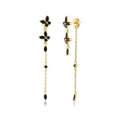 Pendientes Mujer Pendiente De Gota De Cadena De Circonita Mariposa De Oro De Plata De Ley 925 Piercing Pendiente Joyería De Mujer Gift Gold Black