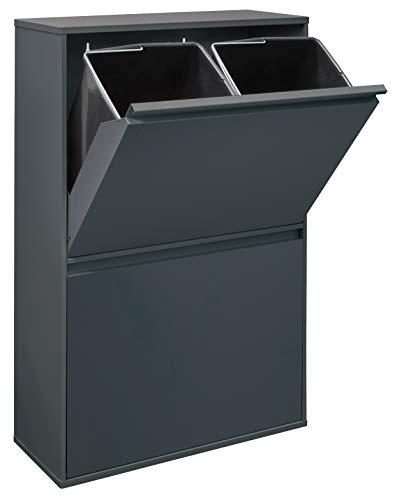 Arregui Basic Cubo de Basura y Reciclaje de Acero con 4 Cubos, Gris Oscuro Antracita, 90,5 x 58,5 x 24,5 cm