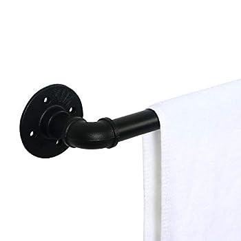 HouseAid 12 Inch Industrial Steel Pipe Towel Rack Holder Heavy Duty Rustic Hand Towel Bar Vintage Style Towel Rod for Bathroom Matte Black